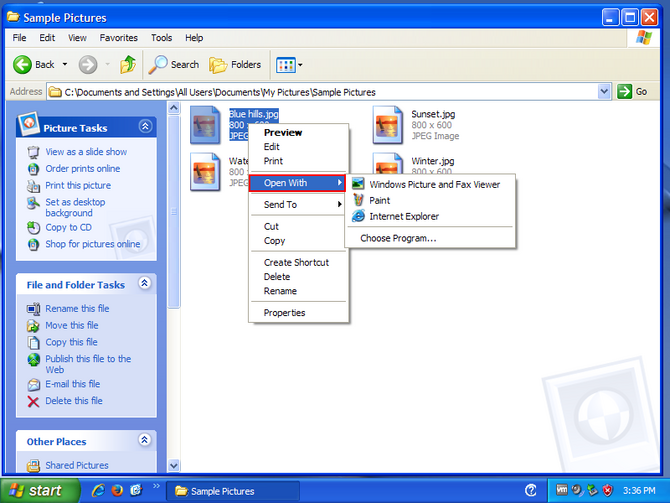 Click Open With in the context menu which expands another context menu.