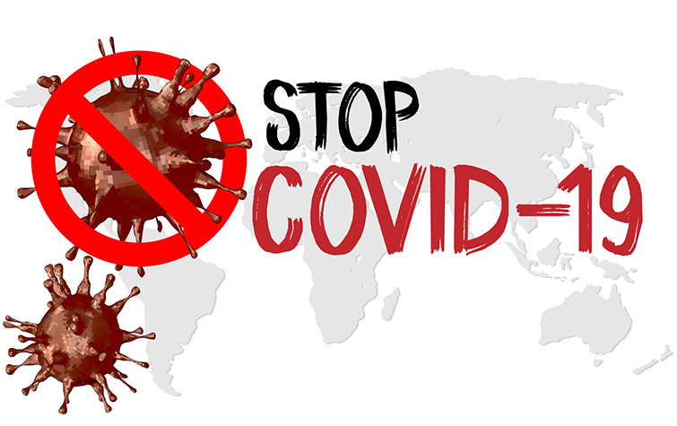 Stop COVID-19 concept world map with stop covid-19 sign vector illustration