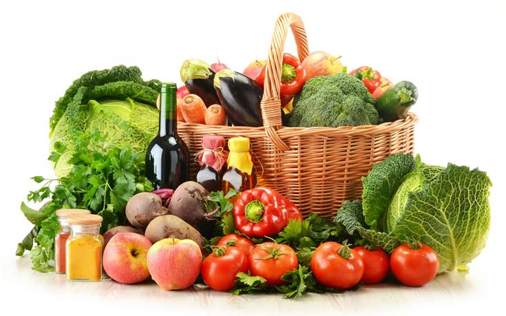 Eating healthy foods — fruits and vegetables