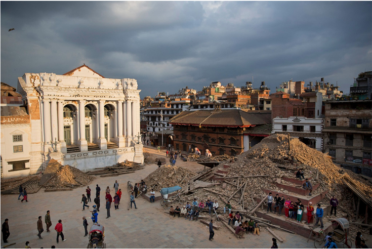 Kathmandu Durbar Square on Sunday after a magnitude 7.8 earthquake struck Nepal. The detritus of centuries-old temples and palaces has been left unguarded as the government puts health and safety first.