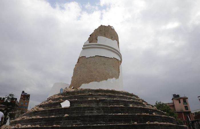 Rubble is all that's left of the Dharahara tower on Saturday, April 25, 2015. The tower was built in 1832.