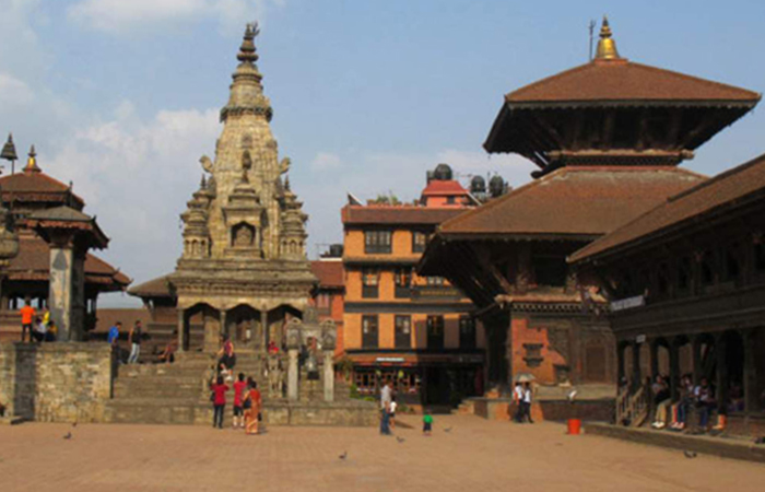 Before : Bhaktapur's Durbar Square shown in July 2011, with intact Vatsala Durga temple (grey stone)