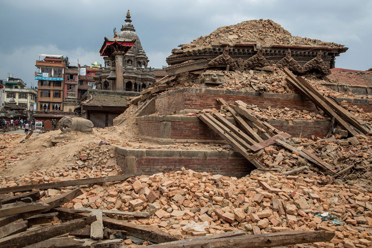 Remains of a collapsed temple in the UNESCO World Heritage Site of Patan Durbar Square in Lalitpur, Nepal, April 28, 2015.