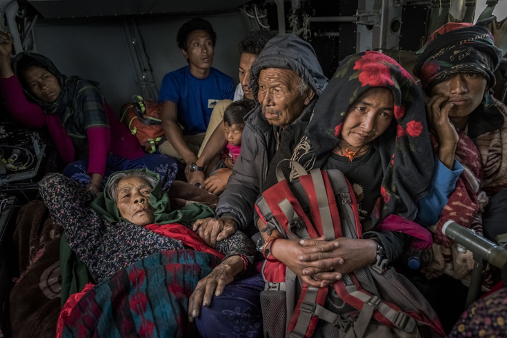 Nepali villagers from Gorkha district were evacuated by an Indian Army helicopter.