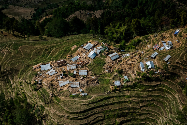 Houses destroyed in the earthquake were seen on a hillside north of Kathmandu.