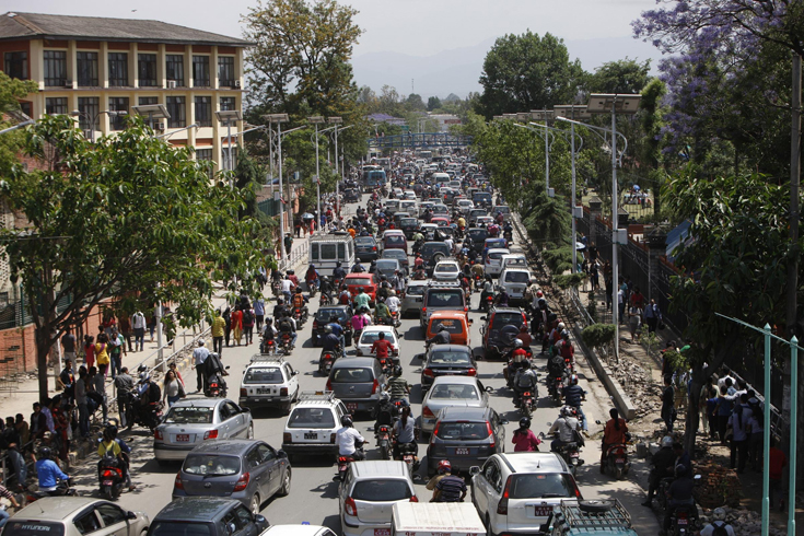 Traffic grinds to a halt in Kathmandu, Nepal, on Tuesday after another earthquake rocked the country.