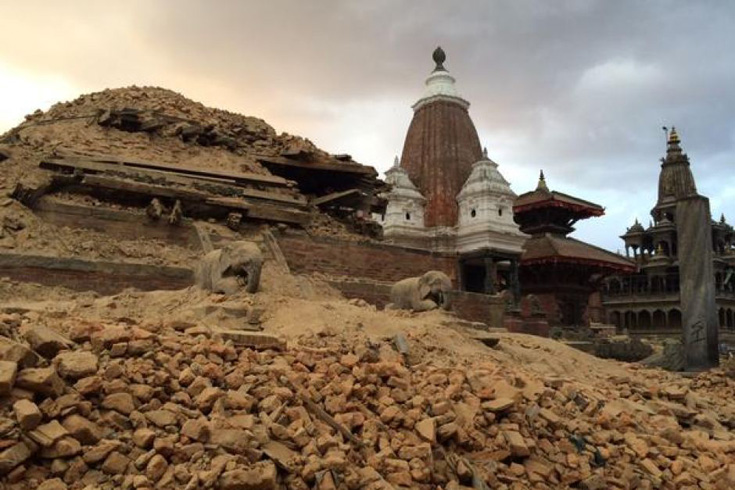 Rubble in Nepal's city of Patan following an earthquake.