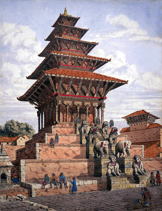 Watercolor of  Nyatapola Temple in Bhaktapur
