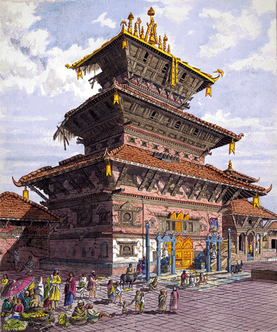 Watercolor of  Bhairavnath Temple in Bhaktapur