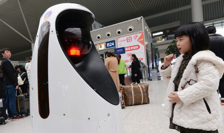 The E-Patrol Robot Sheriff on duty at Zhengzhou East Railway Station on February 15, 2017, Henan Province, China.