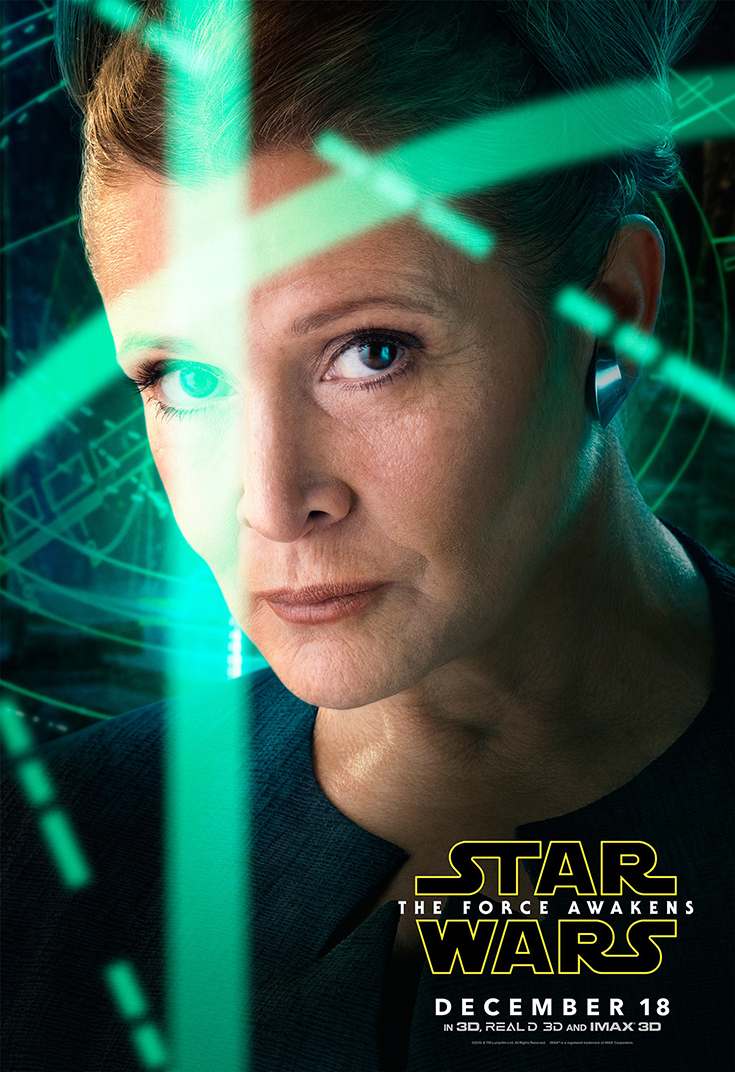 Carrie Fisher as General Leia Organa - Star Wars: The Force Awakens