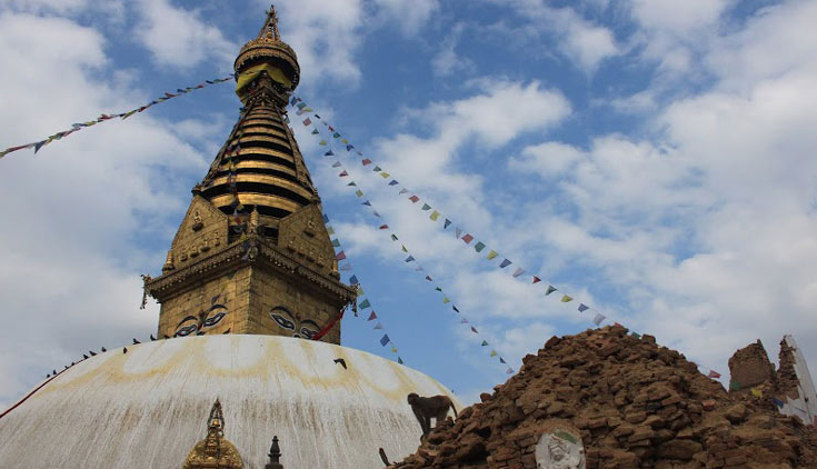 Swayambhunath temple after a 7.8 magnitude quake hit the region On April 25, 2015.