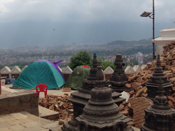 People have taken to spending nights in tents at the temple complex. (Photo: Taufex Khamid)