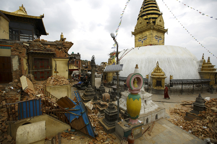 Swayambhunath Stupa   (Monkey Temple), Kathmandu, Nepal after the earthquake photo