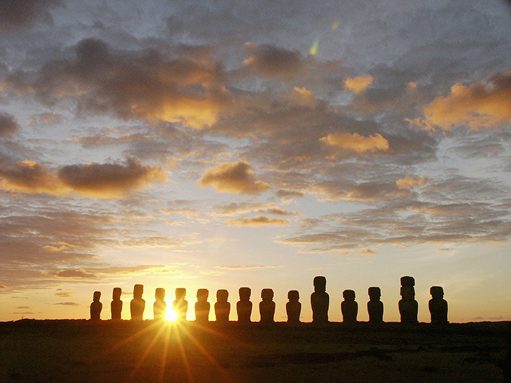 Moais at Dawn, Ahu Tongariki, Easter Island, Chile