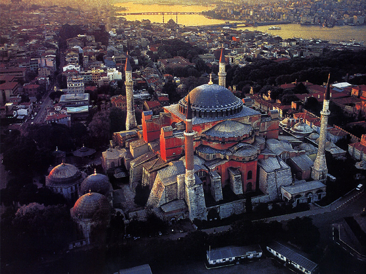 Aerial View of Hagia Sophia, Istanbuls, Turkey