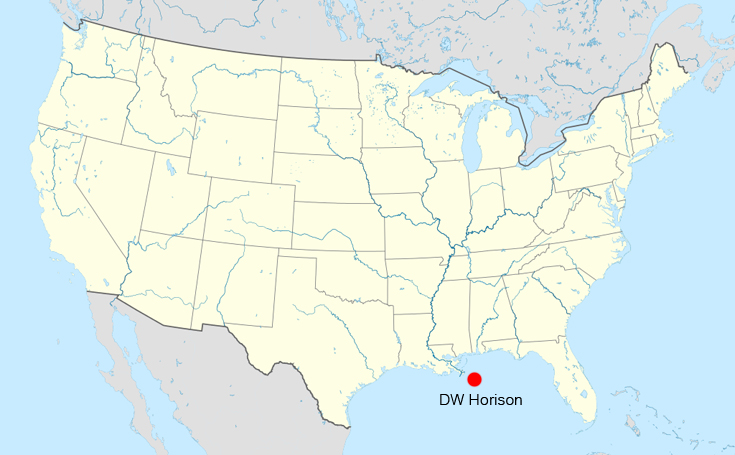 Location of the Deepwater Horizon on April 20, 2010